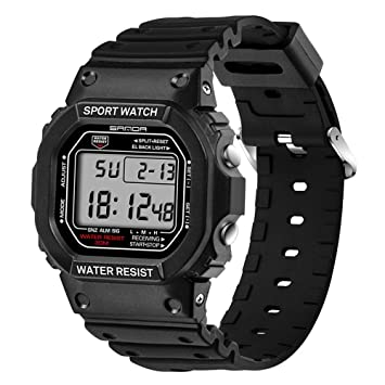 Teepao Reloj Digital Impermeable Rectángulo LED Multifuncional Deporte Electrónico Reloj de Pulsera Moderno Cronógrafo Smart Relojes