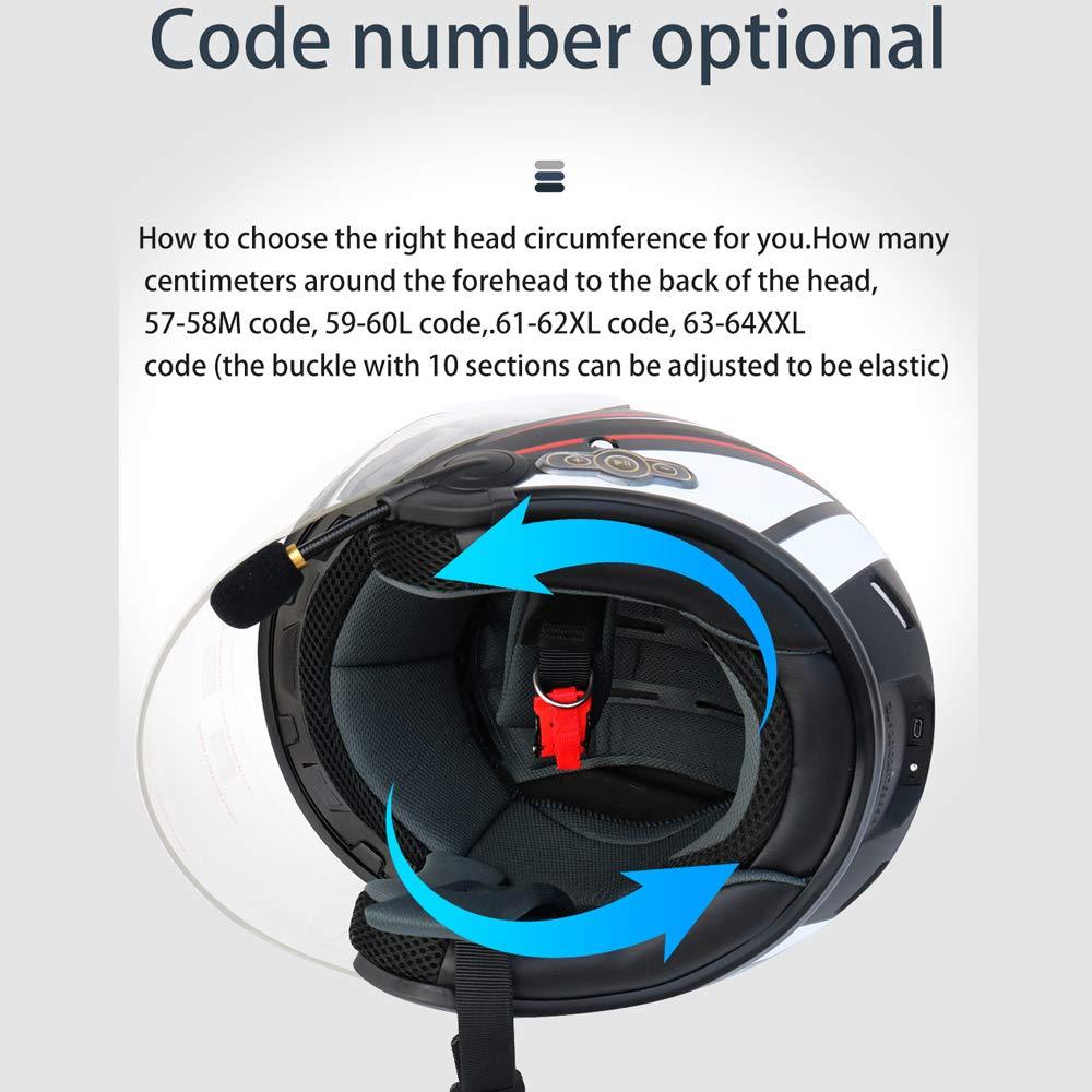 FLYFEI Casco Moto Integrato Bluetooth 5.0/Casco Integrale per Adulto/Batteria da 3000mAh Incorporata/Standby per 60 Giorni E Riproduzione Musicale Fino A 80 Ore,Transparent,M