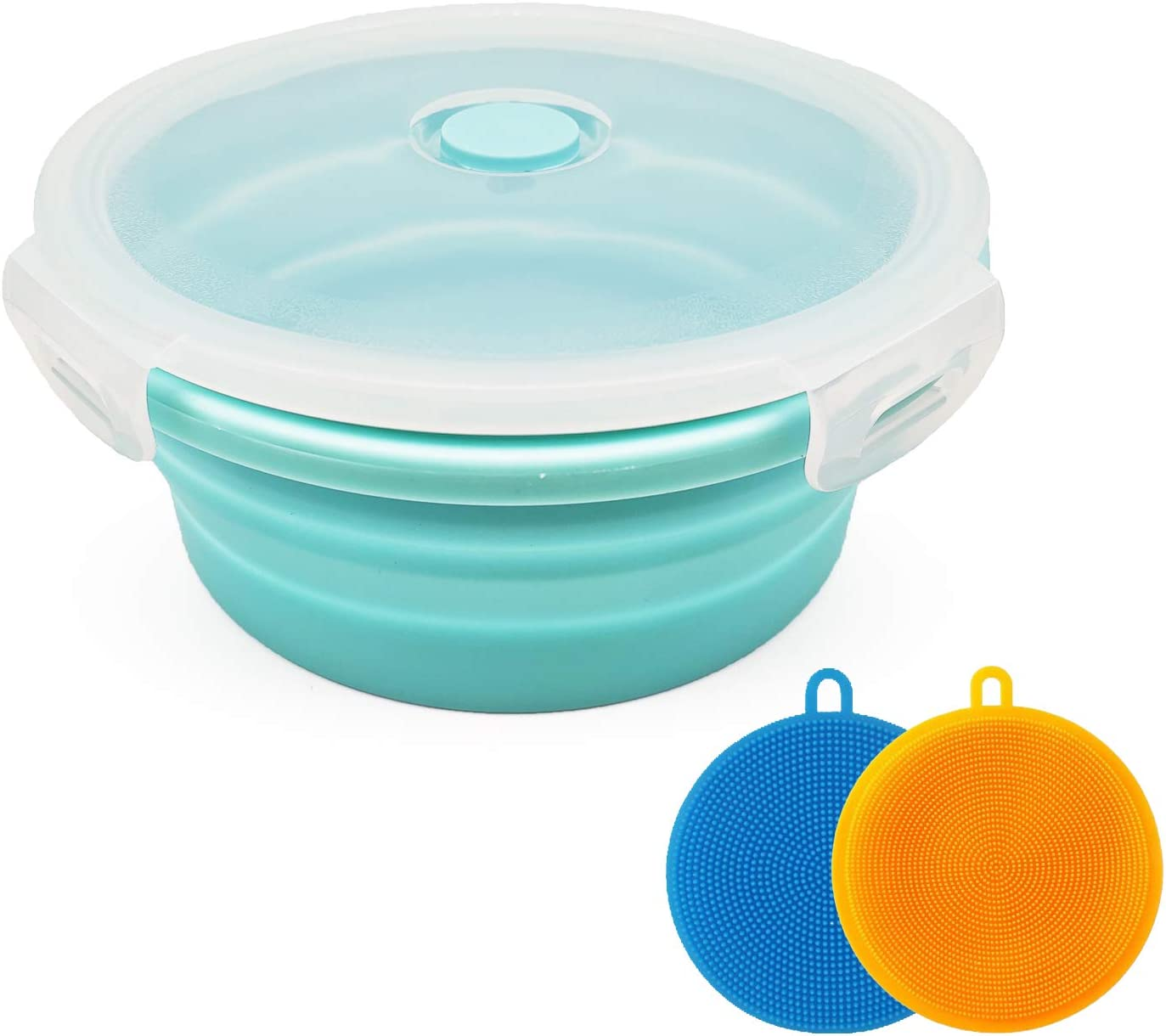 Collapsible Bowl Silicone Collapsible Container Food Storage Containers Collapsible Camping Bowl for Travel Camping Hiking with Airtight Plastic Lids and 2Pack Silicone Dish Sponges- Blue, 500ml