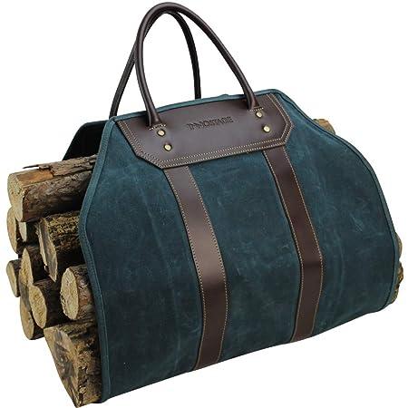 Inno Stage Borsa porta legna in tela cerata, resistente, con manici, accessorio per il camino, porta legna da ardere, ideale per il campeggio,