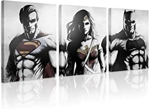 FUNHUA FUNHUA DC Justice League Canvas Wall Art Painting Framed 3 Piece DC Poster HD Printed for Boys Room Living Room Home Office Decor, 50x70cm