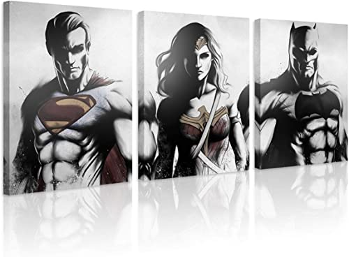 FUNHUA FUNHUA DC Justice League Canvas Wall Art Painting Framed 3 Piece DC Poster HD Printed