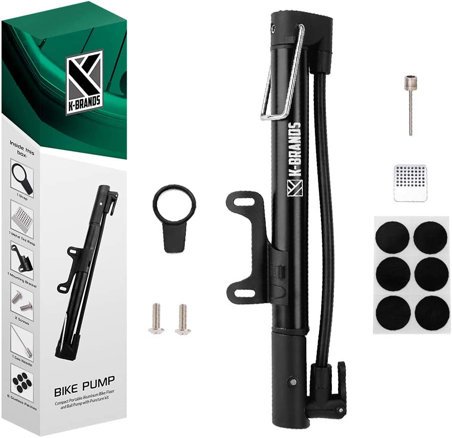K-Brands Bike Pump – Compact and Portable Bike Floor Sports Ball Air Pump – Aluminum Alloy Bicycle Tire Pump with Puncture Kit
