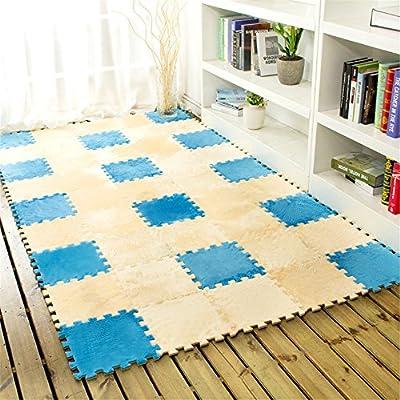 Carpet 12x12 in, Yezijin 6 Pc EVA Eco Puzzle Carpet Mosaic Tile Living Room Cushion Bedside Carpet