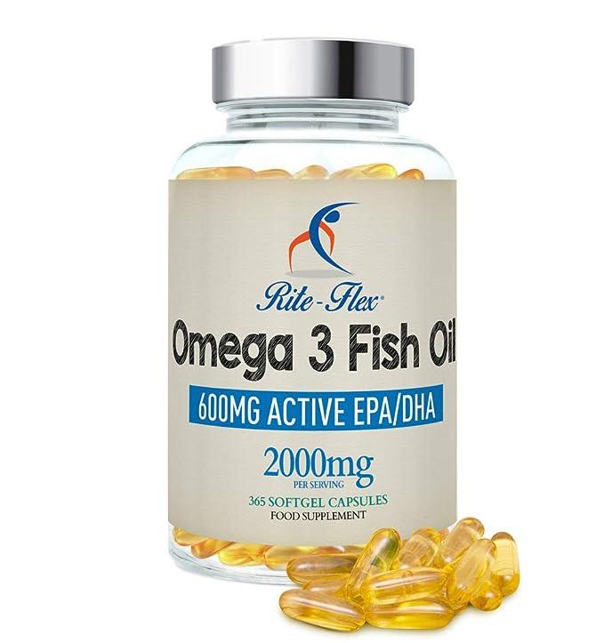 Omega 3 Aceite de Pescado 2000 mg 365 Soft Gel cápsula de Rite Flex (1000 mg por cápsula): Amazon.es: Salud y cuidado personal