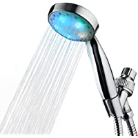 KAIREY Handheld Led Shower Head 7 Color Light Change Automatically Polished Chrome with 60 Inches Stainless Steel Hose and Adjustable Bracket