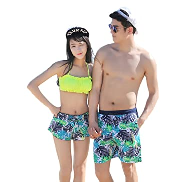 8567a21b15 Matching-Couples Summer Casual Shorts Beachwear Swimming Suits Trunks  GreenXL