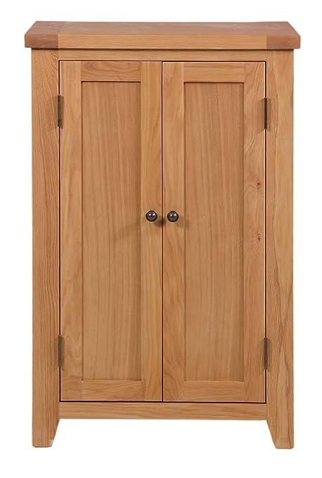 cotswold oak tall shoe storage cabinet in lacquered oak finish