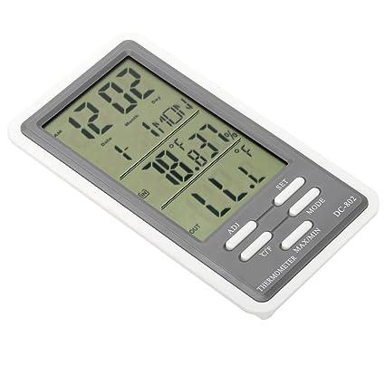 TOOGOO Termometro digital LCD Higrometro Reloj Medidor de humedad y temperatura Uso en interiores y exteriores