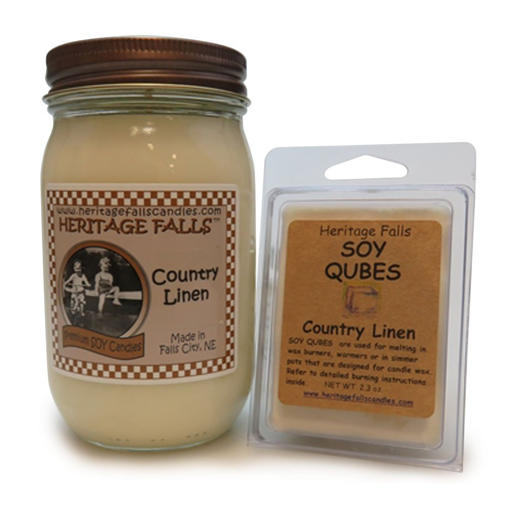 Heritage Falls Candles Country Linen Pint Candle and Soy Cubes Combo Set