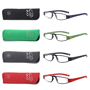 d20a2c4a56b0 Reading Glasses 4 Pack Fashion Design Unisex Quality Readers Spring Hinge  Men and Womens Eyeglasses +