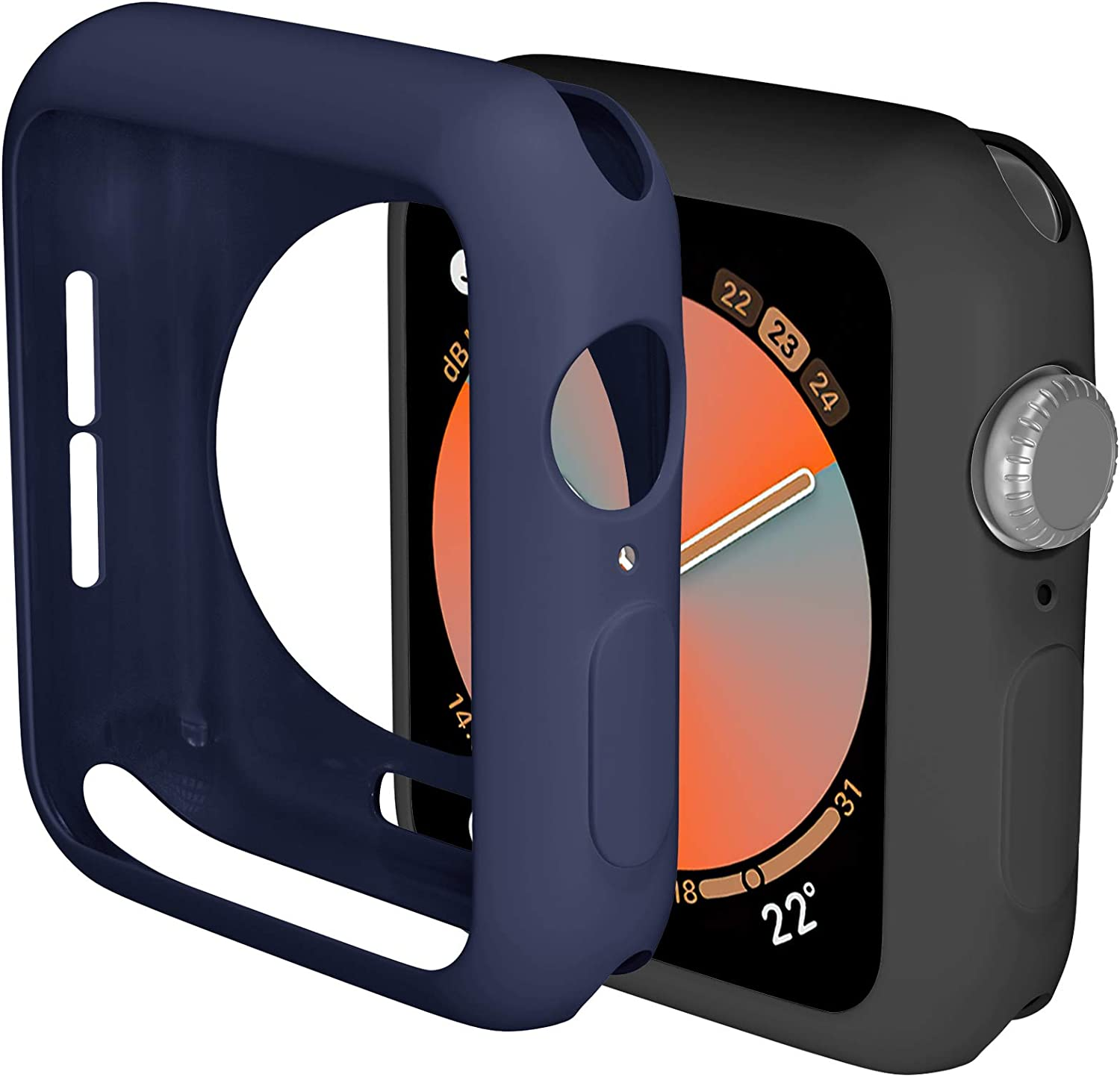 ZAROTO 40mm Case Compatible for Apple Watch Series 6 Series 5 4 SE Protector, 2pack Soft Bumper Protective for iwatch 40mm Cover Case Flexible TPU Thin Lightweight Women Men (Black/Navy Blue)