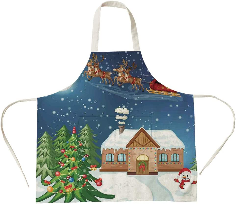 3D Printed Cotton Linen Big Pocket Apron,Christmas Decorations,Classic Eve Scene Santa Delivering Gift with Rudolf The Red Nosed Reindeer,Multi,for Cooking Baking Gardening