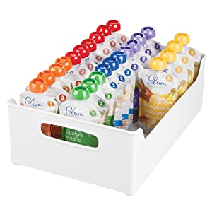 """mDesign Stackable Plastic Storage Organizer Containers with Handles for Kitchen Countertop, Cabinet, Pantry, Refrigerator - BPA Free - for Kids Snacks/Food - 10"""" Wide - White"""