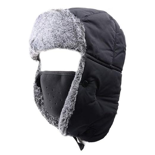 03a0c3e2e1b Azarxis Unisex Winter Trooper Hat Hunting Hat Ushanka Ear Flap Chin Strap  with Windproof Mask (