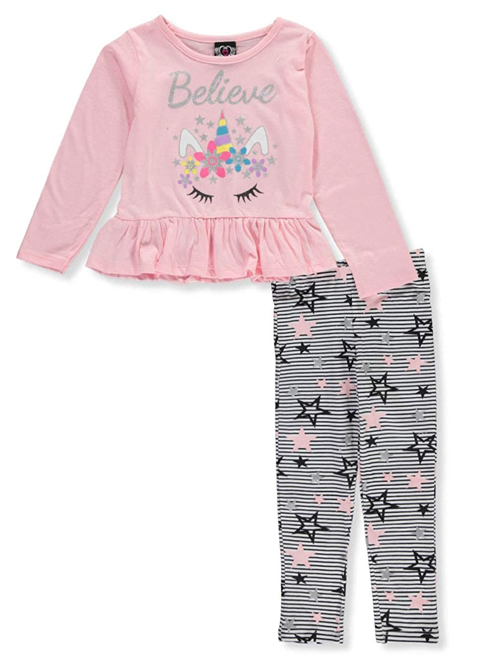 Real Love Girls Believe in Unicorns 2-Piece Leggings Set Outfit