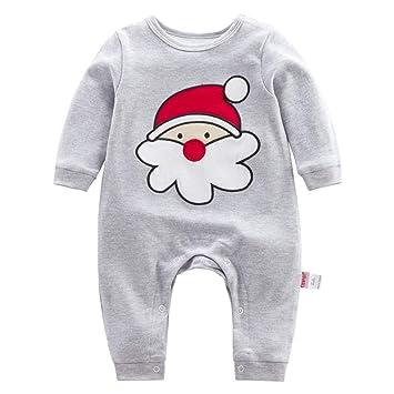 Bebé Navidad Mameluco de Manga larga Pelele Reno Mono Papá Noel Body 9-12 Meses: Amazon.es: Bebé