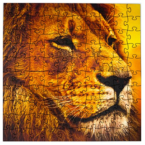 Wooden Puzzle Lion - Mosaic Puzzles Wooden Jigsaw Puzzle – Lion on The African Savannah – 101 Unique Pieces Challenge Any Puzzle Lover from Ages 8 to 98 – Made in The USA by Zen Art & Design