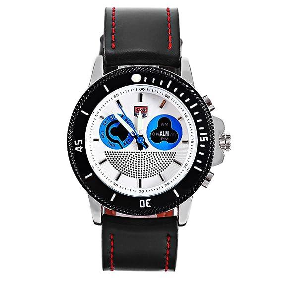 Leopard Shop TVG 469 Sport reloj de pulsera de cuarzo digital pantalla LED de doble luminoso de alarma Día movt reloj hombre cronógrafo azul y blanco: ...