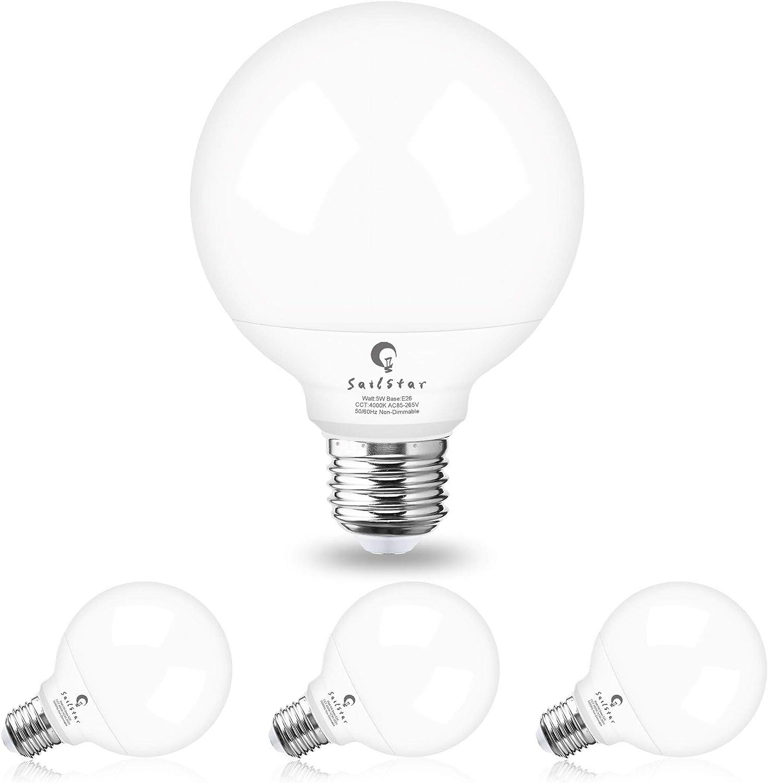 G25 Led Vanity Light Bulbs For Bathroom Sailstar Globe Light Bulbs 5w 60 Watt Equivalent 4000k Natural Daylight White 500 Lumen E26 Base Non Dimmable Round Light Bulbs For Bathroom 4 Pack Amazon Com