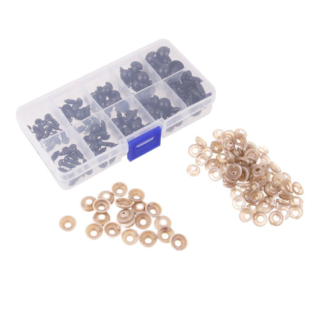 100pezzi Occhi Di Sicurezza Nera 6-12mm Plastica Generic STK0157000587