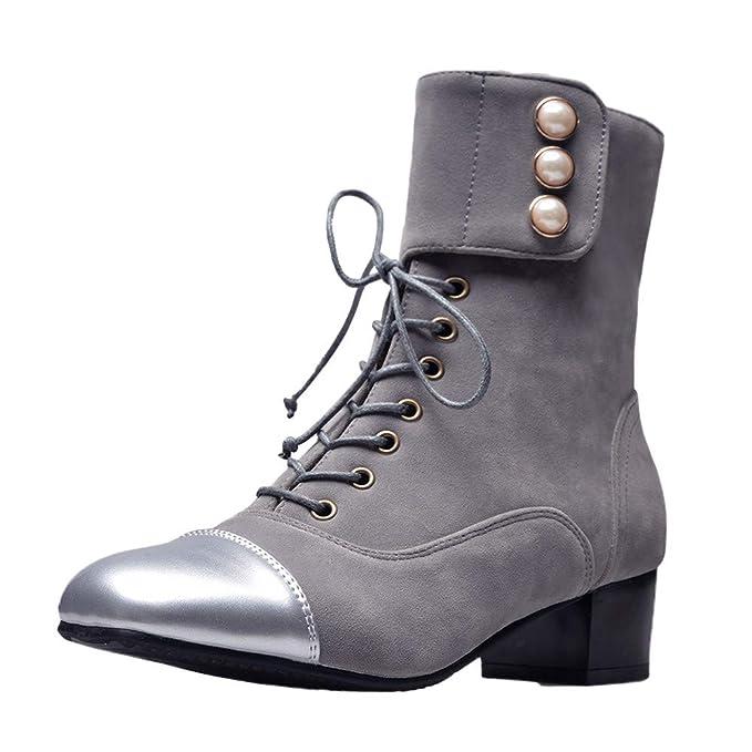 ZARLLE Zapatillas Moda Botines Botas Militares Altas Mujer Botas Ocio Zapatos de Cabeza Cuadrada Plana para Mujer Antideslizantes con Cordones Tubo Corto ...