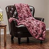 Chanasya Super Soft Fuzzy Faux Fur Cozy Warm Fluffy Plush Sherpa Dark Rose Purple Fur Microfiber Bed Throw Blanket (50