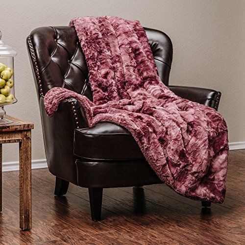 Rose Fur (Chanasya Faux Fur Bed Throw Blanket - Super Soft Fuzzy Cozy Warm Fluffy Beautiful Color Variation Print Plush Sherpa Microfiber Dark Rose Blanket (50