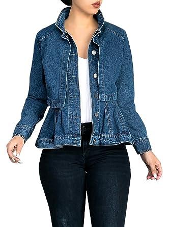 3afcb7b2ccf Womens Vintage Slim Fit Cape Up Peplum Button Down Denim Jean Jacket with  Asymmetry Ruffle Hem Plus Size Blue at Amazon Women s Coats Shop