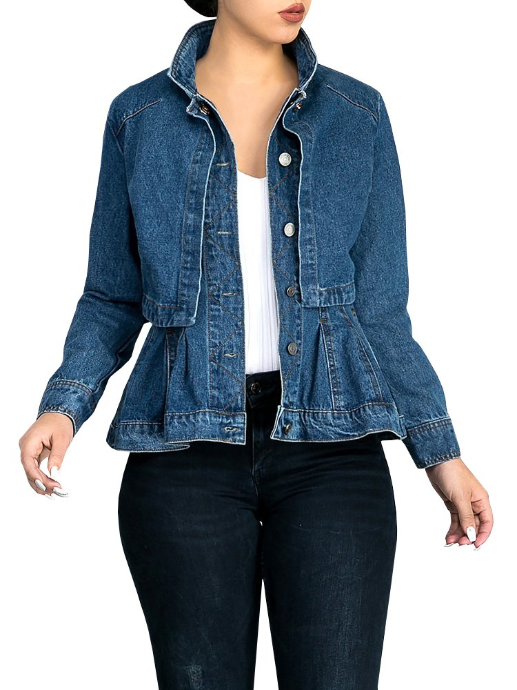 Misassy Womens Vintage Slim Fit Cape Up Peplum Button Down Denim Jean Jacket With Asymmetry Ruffle Hem Plus Size by Misassy (Image #1)