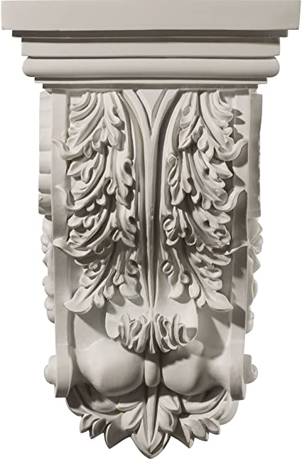 Hand CarvedSolid Wood Acanthus Scroll Coner Applique Onlay Corbel 8W X 3-1//2H X 1//2TH Pair L/&R OW364