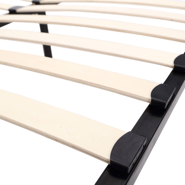 amazoncom homcom queen size mattress wood slat platform bed frame kitchen dining - Wooden Slat Bed Frame