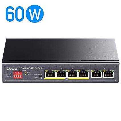 - 65W BV-Tech 5 Port 100Mbps PoE Switch 4 PoE + 1 Ethernet Uplink 802.3af