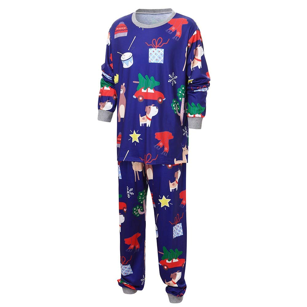 Christmas Pajamas Family Matching Children Kids Reindeer Top Pants Set Clothes Suits Xmas Eve Pjs Couples