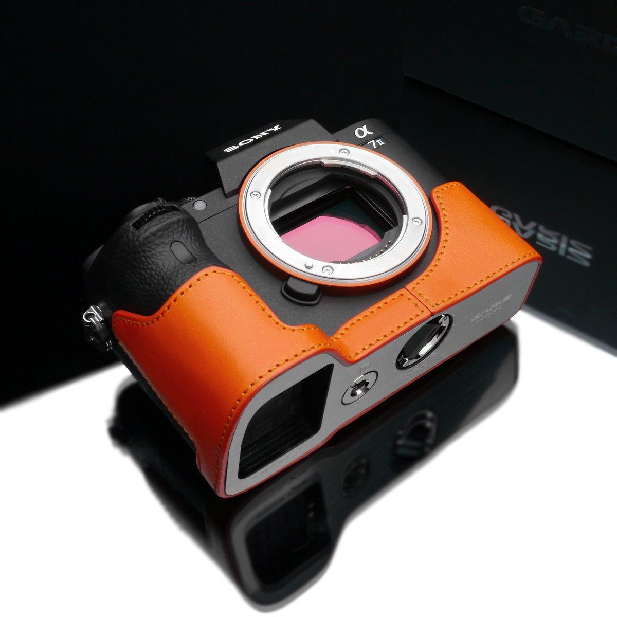 Gariz Genuine Leather XS-CHA7IIOR Camera Metal Half Case for Sony Alpha A7II A7RII Mark 2 Orange
