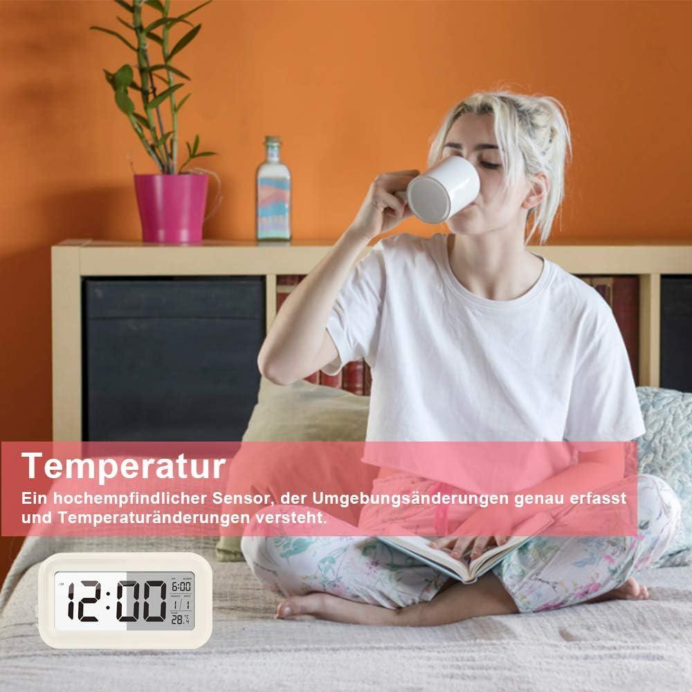 Blau Digital-Wecker mit Extra gro/ßem Display Enllonish Smart Digital Wecker Snooze 5 Minuten Reiseuhr f/ür Kinder Studenten und Erwachsene Snooze Temperatur Datumsanzeige