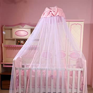 Baby Bed Canopy Crib Netting Hanging Mosquito Net with Stand Bowknot Decorative Pink & Amazon.com : Baby Bed Canopy Crib Netting Hanging Mosquito Net ...