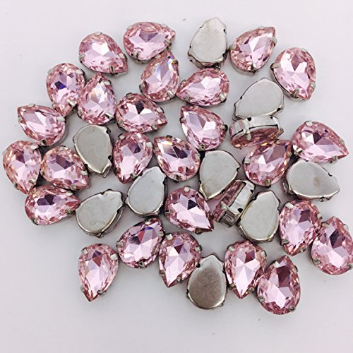 HONESH 30pcs Pink color Teardrop Shape Sew on Glass Crystal Diamante Rhinestone Craft, 13x8x5.5mm, Hole: - Glasses Diamante