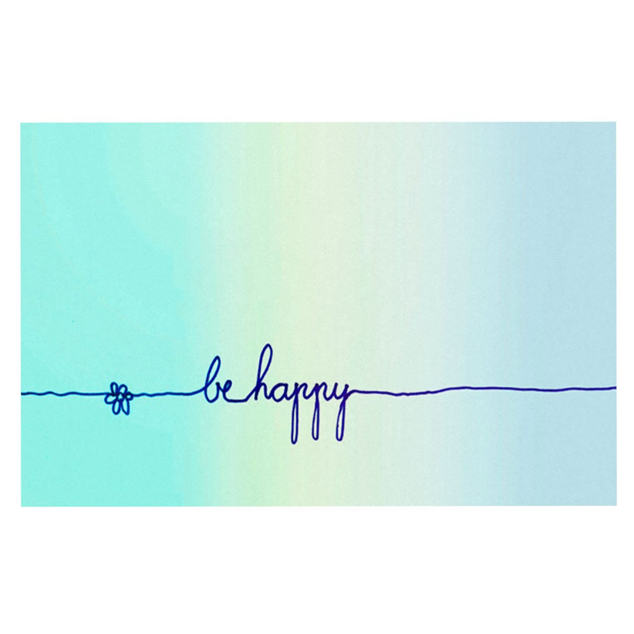 Kess InHouse  Monika Strigel ''Be Happy Aqua'' Simple Blue Pet Bowl Placemat for Dog and Cat Feeding Mat, 18-Inch by 13-Inch
