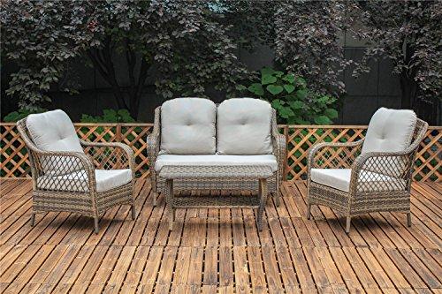 Living Express Outdoor Patio Rattan Wicker Conversation 4 Piece Set with Cushion, Beige (Wicker Conversation Set)