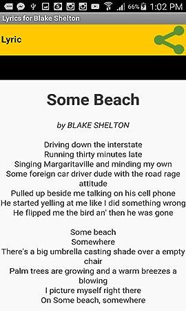 Amazon com: Lyrics for Blake Shelton: Appstore for Android