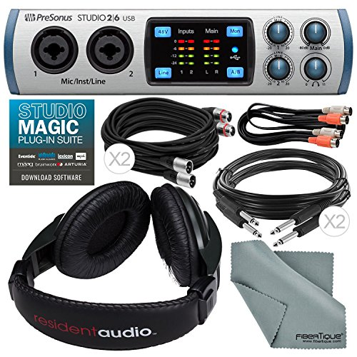 PreSonus Studio 26 - 2in4out 192 kHz USB 2.0 Audio/MIDI Interface with Stereo Headphones + Xpix Pro-Quality Cables + Dual MIDI Cable