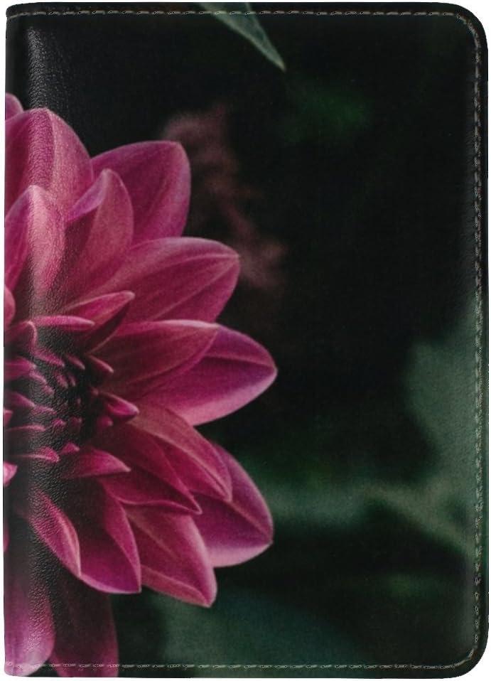 JiaoL Flower Purple Bud Leather Passport Holder Cover Case Travel One Pocket