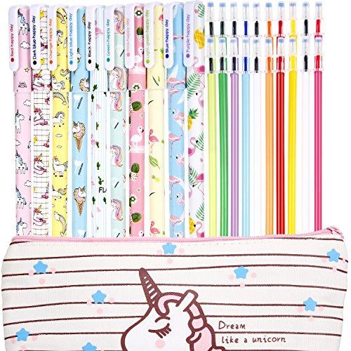 Jetec 10 Pieces Unicorn Flamingo Gel Ink Pens Plus Unicorn Pencil Case 20 Pieces Color Refill Ink, Fine Point (0.5 mm) Pen, Unicorn School Supplies for Girls