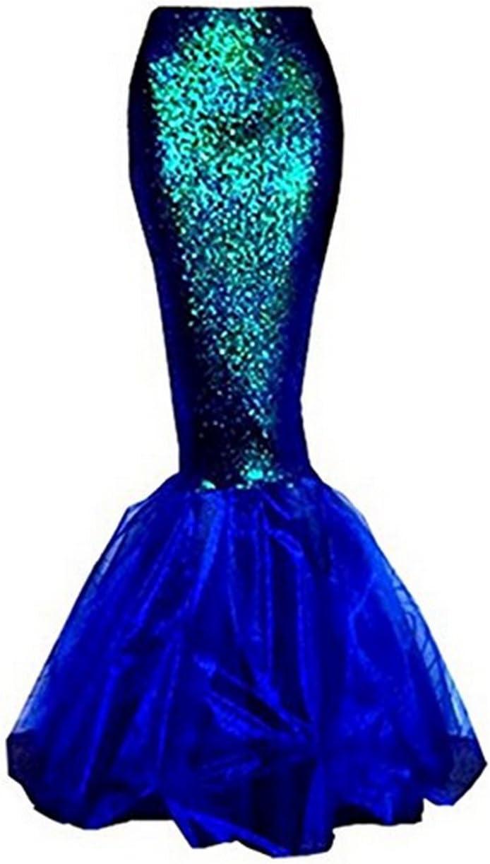 Binwwe Traje de Sirena Mujer Adulta Lencer/ía Cosplay de Halloween Vestido Lentejuelas Falda Larga Cola de pez Falda Larga Azul, L