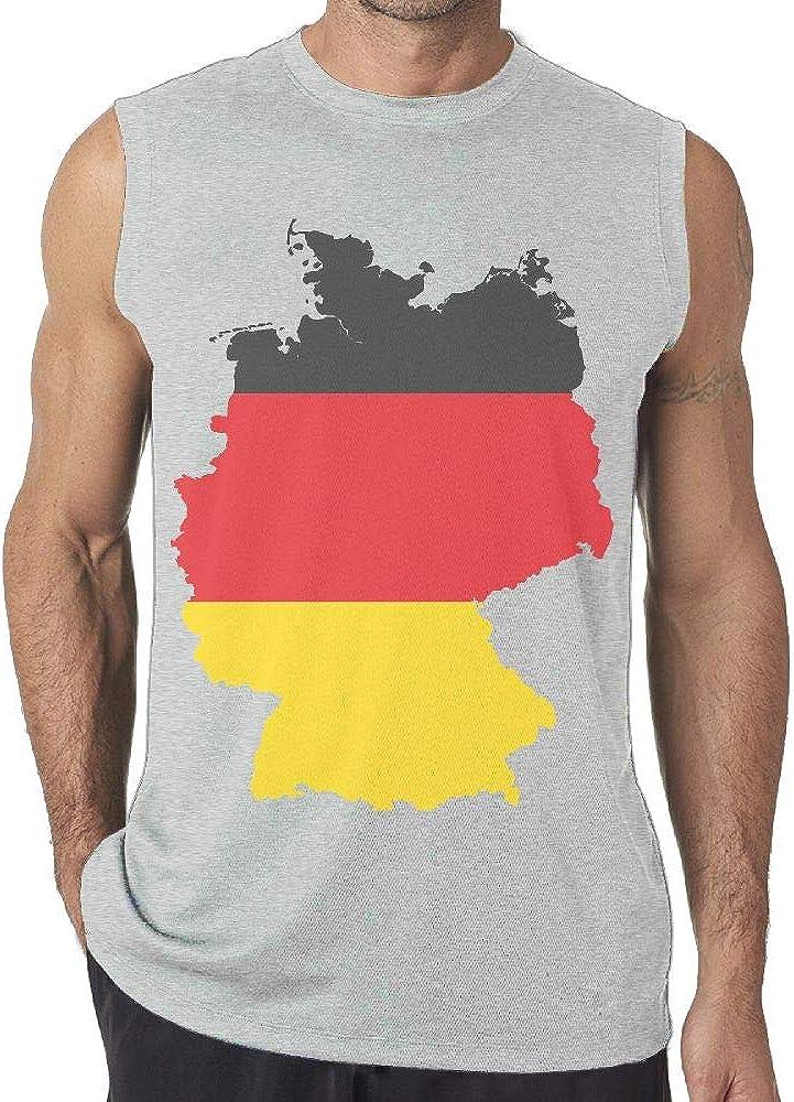 NRYDYMM Mens Sleeveless T Shirt German Flag Map 100/% Cotton Bodybuilding T Shirt