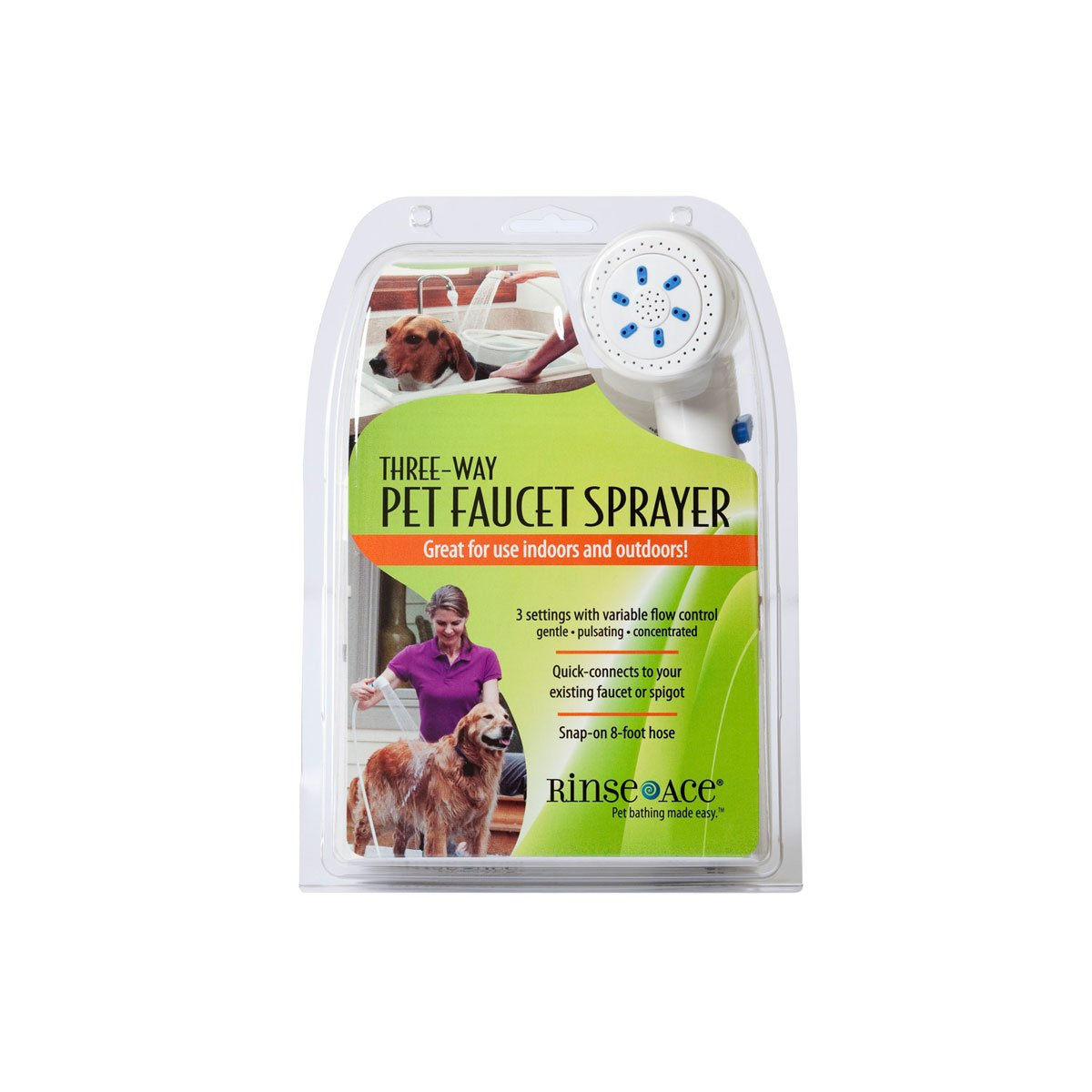 Rinse Ace 3 Way Pet Faucet Sprayer with 8 foot Hose