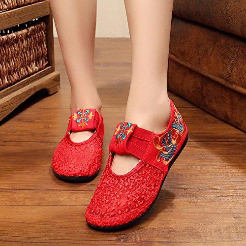 GuiXinWeiHeng xiuhuaxie Zapatos de la flor del cord¨®n, bordado del hilado de la red peque?os zapatos rojos, zapatos ocasionales, zapatos soled suaves red