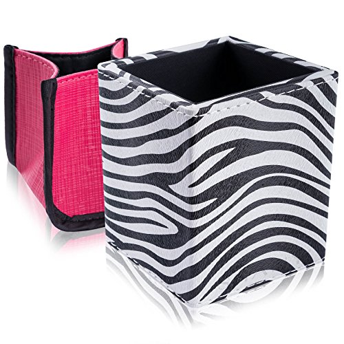 SHANY 2-in-1 Patterned Makeup Brush Holder with Removable Cosmetics Organizer Insert, Sassy Zebra, 0.53 Pound -