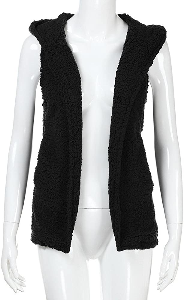 Vest For Womens,Winter Warm Hoodie Outwear Casual Plush Sleeveless Coat Zip Up Jacket Tops By Gergeos